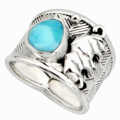 3.23cts natural blue larimar 925 silver elephant solitaire ring size 7.5 r10730