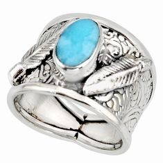 3.13cts natural blue larimar 925 silver feather solitaire ring size 6.5 r10731
