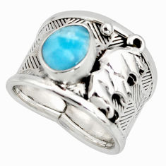 3.09cts natural blue larimar 925 silver elephant solitaire ring size 8 r10733
