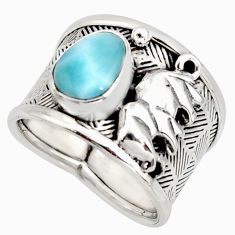 2.11cts natural blue larimar 925 silver elephant solitaire ring size 8 r10734