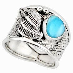 2.11cts natural blue larimar 925 silver solitaire ring jewelry size 7.5 r10735