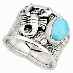 2.07cts natural blue larimar 925 silver scorpion solitaire ring size 7 r10736