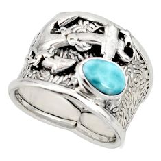 2.09cts natural blue larimar 925 silver anchor solitaire ring size 7.5 r10738