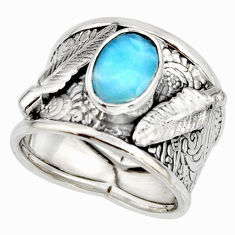 3.01cts natural blue larimar 925 silver feather solitaire ring size 7 r10740