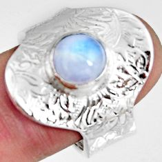 925 silver 3.41cts natural rainbow moonstone adjustable ring size 9 r10748