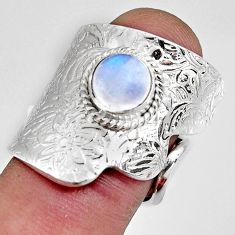 2.11cts natural rainbow moonstone 925 silver adjustable ring size 7 r10756