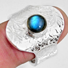 2.44cts natural blue labradorite 925 silver adjustable ring size 8 r10765