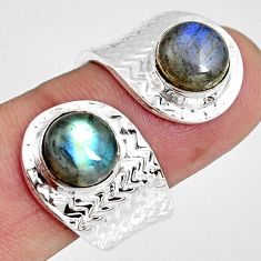 7.07cts natural blue labradorite 925 silver adjustable ring size 9 r10773