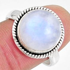 7.66cts natural rainbow moonstone 925 silver solitaire ring size 8.5 r10783