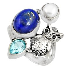 6.89cts natural blue lapis lazuli topaz pearl silver owl ring size 7.5 r10801