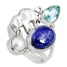 6.78cts natural blue lapis lazuli topaz 925 silver elephant ring size 7 r10803
