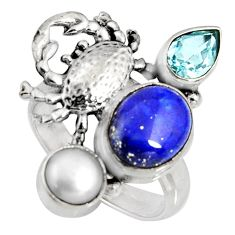 6.69cts natural blue lapis lazuli topaz pearl 925 silver crab ring size 7 r10806