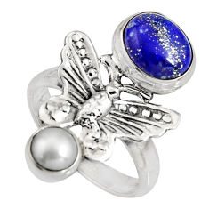 5.30cts natural blue lapis lazuli pearl 925 silver butterfly ring size 8 r10807