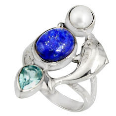 925 silver 7.23cts natural blue lapis lazuli topaz dolphin ring size 7.5 r10811