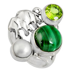 7.22cts natural green malachite pearl 925 silver elephant ring size 6 r10812