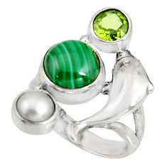 7.77cts natural green malachite peridot 925 silver dolphin ring size 7 r10814