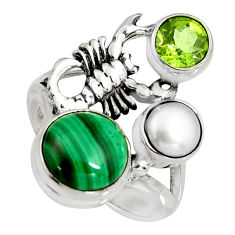 7.02cts natural green malachite 925 silver scorpion charm ring size 7.5 r10817