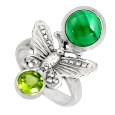 5.95cts natural green malachite peridot 925 silver butterfly ring size 7 r10819