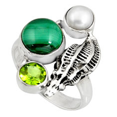925 silver 7.10cts natural green malachite pearl peridot ring size 9 r10820