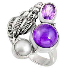 7.02cts natural purple amethyst pearl 925 sterling silver ring size 9 r10821