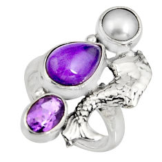 5.63cts natural purple amethyst white pearl 925 silver fish ring size 5.5 r10823