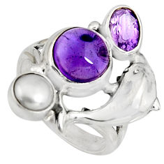 6.92cts natural purple amethyst pearl 925 silver dolphin ring size 7 r10826