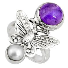 5.97cts natural purple amethyst pearl 925 silver butterfly ring size 5.5 r10827
