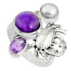 925 silver 6.76cts natural purple amethyst white pearl crab ring size 8.5 r10828