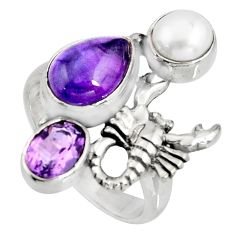 6.32cts natural purple amethyst 925 silver scorpion charm ring size 7 r10829