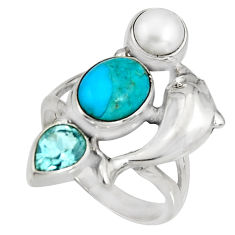 6.20cts blue arizona mohave turquoise 925 silver dolphin ring size 7.5 r10830
