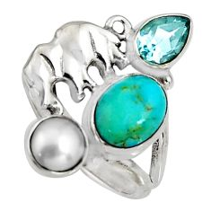 5.96cts blue arizona mohave turquoise 925 silver elephant ring size 7.5 r10831
