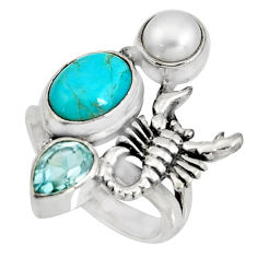 5.95cts blue arizona mohave turquoise silver scorpion charm ring size 6 r10834