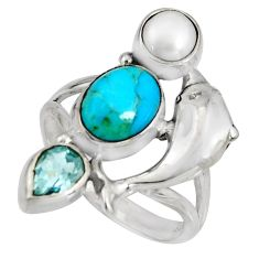 925 silver 6.76cts blue arizona mohave turquoise dolphin ring size 8.5 r10835