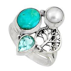 5.75cts blue arizona mohave turquoise silver tree of life ring size 7.5 r10836