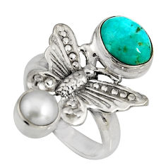 4.21cts blue arizona mohave turquoise 925 silver butterfly ring size 6.5 r10838