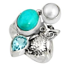 6.26cts blue arizona mohave turquoise topaz 925 silver owl ring size 6 r10839