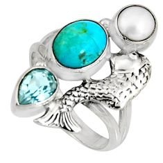 925 silver 6.31cts blue arizona mohave turquoise topaz fish ring size 8 r10840