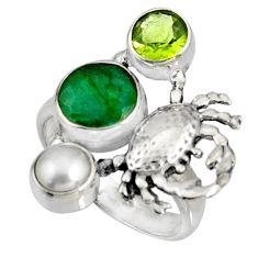 5.35cts natural green emerald peridot pearl 925 silver crab ring size 7.5 r10842