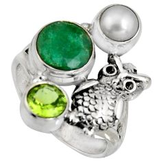 925 silver 5.01cts natural green emerald peridot pearl owl ring size 7.5 r10843