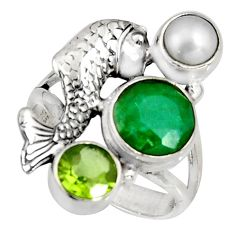 4.82cts natural green emerald peridot pearl 925 silver fish ring size 7 r10844