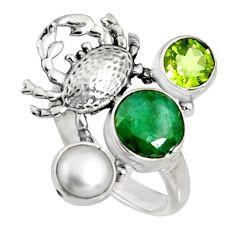 5.18cts natural green emerald peridot pearl 925 silver crab ring size 7 r10845