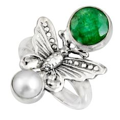4.38cts natural green emerald pearl 925 silver butterfly ring size 7 r10846