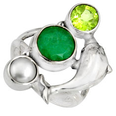 5.17cts natural green emerald peridot 925 silver dolphin ring size 6 r10848