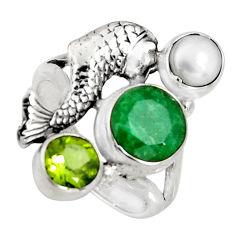 925 silver 5.18cts natural green emerald peridot pearl fish ring size 7.5 r10850