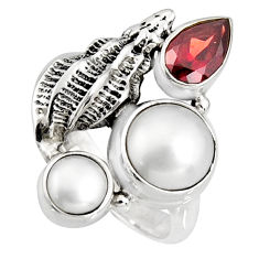 6.02cts natural white pearl red garnet 925 sterling silver ring size 8 r10852