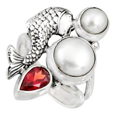 925 sterling silver 6.53cts natural white pearl garnet fish ring size 6 r10854