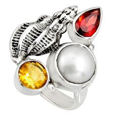 925 sterling silver 6.54cts natural white pearl red garnet ring size 7.5 r10858