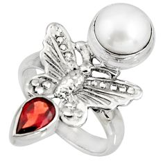 5.60cts natural white pearl red garnet 925 silver butterfly ring size 7.5 r10859