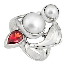 925 silver 6.92cts natural white pearl garnet pearl dolphin ring size 8 r10860