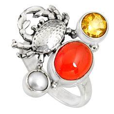 6.54cts natural orange cornelian (carnelian) 925 silver crab ring size 7 r10861